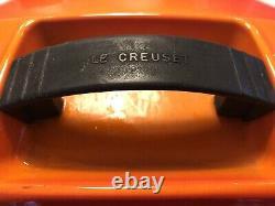 Le Creuset Cast iron oval Casserole dish 27cm Volcanic Orange with lid vintage
