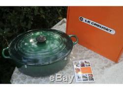 Le Creuset Classic Cast Iron Oval Dutch Oven 9.5 Qt Juniper Cactus Green NEW