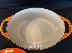Le Creuset Cousances Oval Cast Iron Dutch Oven Pot #20 Flame Orange France NICE