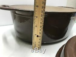 Le Creuset Doufeu Cast Iron Brown 6 Qt Oval Dutch Oven Roaster # 16 France