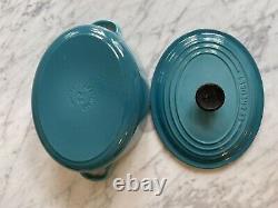 Le Creuset Enamel Cast Iron Oval Dutch Oven Pot, 2 3/4 QT, CARIBBEAN TEAL BLUE