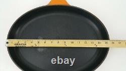Le Creuset Enamel Cast Iron Oval Large Orange Skillet Pan # 40 France 15.75