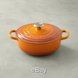 Le Creuset Enameled Cast Iron 3.5 Qt Persimmon Signature Sauteuse Dutch Oven