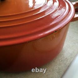 Le Creuset Flame Orange No 35 Oval Cast Iron Dutch Oven 9 Quart France XL Vtg