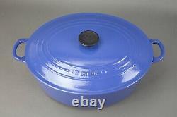 Le Creuset France #35 Blue Enamel Cast Iron Oval Dutch Oven 9.5 Quart