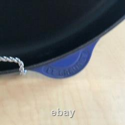 Le Creuset Lapis 15 inch Classic Oval skillet enameled Cast Iron blue pre-owned