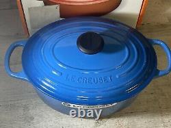 Le Creuset Marseille Blue Cast Iron Oval 5 Qt Casserole Oven New Defects