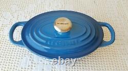 Le Creuset Marseille Blue Oval Cocotte Enameled Cast Iron 1Qt Dutch Oven Pan #17