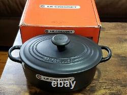 Le Creuset Matt Black Oval Dutch Oven 3 1/2 Cast Iron #25 Black interior