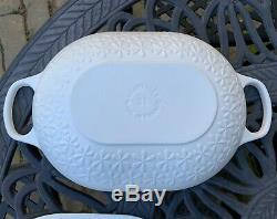 Le Creuset Matte White Fleur Cast Iron 3 Qt Oval Braiser 2.25 Qt Saucepan New
