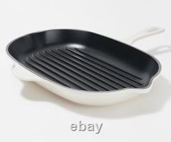 Le Creuset NIB Cast Iron Oval Skillet Grill Pan Meringue Off White
