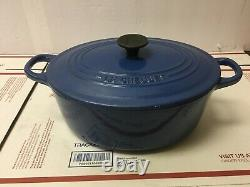 Le Creuset OVAL DUTCH OVEN #25 Blue 3.5 Qt Enamel Cast Iron