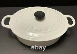 Le Creuset OVAL DUTCH OVEN #25 White COTTON ©Signature 3.5 Qt Enamel Cast Iron