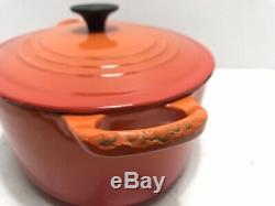 Le Creuset Orange Enameled Oval Cast Iron 3.5 QT Pan Dutch Oven w Lid France