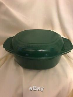 Le Creuset Oval Baking Dish/Roasting Pan With Sautee Pan Lid 10 1/2 4.5qt Green
