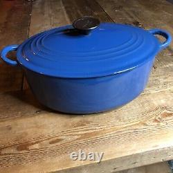 Le Creuset Oval Blue Dutch Oven Cast Iron Porcelain Enamel 5 Quart Pot France