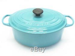 Le Creuset Oval Casserole Oven Pot Turquoise Enamel Cast Iron 6.75 Quart with Lid