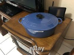 Le Creuset Oval Cast Iron French Oven 6.75qt #31 Harmonic Blue(see Details)