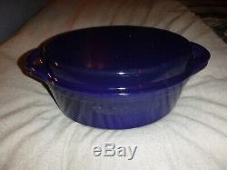 Le Creuset Oval Dutch oven with grill pan lid 4.5 Quart Indigo blue cast iron