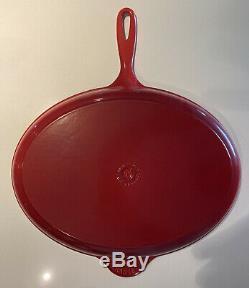 Le Creuset Oval Skillet Griddle Cerise Red Extra Large Size