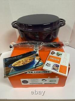 Le Creuset RARE Cassis Plum Purple 4 1/2 Qt. Oval Dutch Oven with Grill Pan Lid 28
