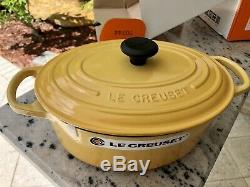 Le Creuset Rare HONEY Signature 3.5qt Oval Cast Iron Dutch Oven Casserole! New