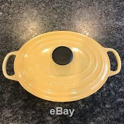 Le Creuset Shallow Wide Enameled Cast Iron Oval Dutch Oven Yellow