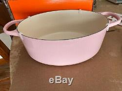 Le Creuset Signature Cast Iron 6.75 Quart Oval Dutch Oven Chiffon Pink BonBon