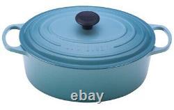 Le Creuset Turquoise / Caribbean Blue Cast Iron Oval 5 Qt Casserole Oven New