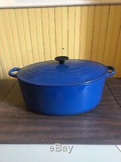 Le Creuset Vintage France Cast Iron Enamel Oval Dutch Oven, Blue No 35
