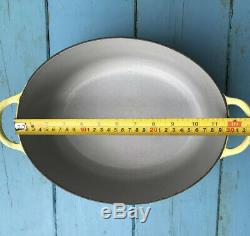 Le Creuset Vintage Yellow Cast Iron Oval Casserole Pot 5Ltr Approx 30 cm X 23 Cm