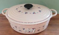 Le Creuset oval Cast Iron Enamelware Dutch Oven Rare Petit Fruit E France 5 qt