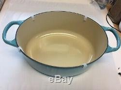 Le creuset oval caserole/dutch oven with lid TURQUOISE