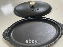 Like New Staub Vintage Fish Plate Oval 31cm Black Brass Gold Knob