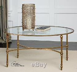 MID Century Modern 40 Aged Gold Leaf Iron Glass Top Oval Coffee Table