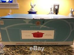 Martha Stewart 7 Quart Red Enamel Cast Iron Dutch Oven Oval Casserole Pot NEW