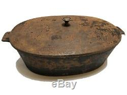 Montgomery Ward & Co Oval Roaster Cast Iron With Lid