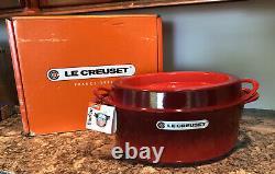 NEW LE CREUSET Gorgeous CERISE Red Oval Cast Iron DOUFEU Dutch Oven 9.75 Qt #35