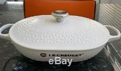 NEW LE CREUSET Signature Enameled Cast Iron Fleur Oval Oven 3.75qt Cotton White