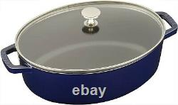 NEW, Staub 4qt Shallow Wide Oval Cocotte with Glass Lid, Dark Blue