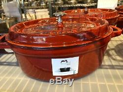 NEW Staub Cast Iron 4.25 qt OVAL French Oven Cocotte with Lid BURNT ROUGE RED