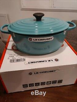 NEW with Box Le Creuset Turquoise 6 3/4 Qt 6.75 Qt (6.3L) Oval Dutch Oven