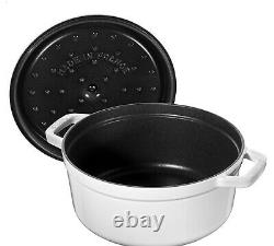 NIB Staub Cast Iron 4.0 qt Dutch Oven French Oven Cocotte with Lid WHITE