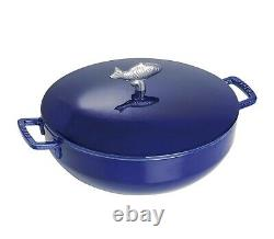 NIB Staub Cast Iron 5 quart BOUILLABAISSE French Oven with Lid DARK BLUE