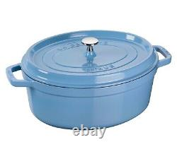 NIB Staub Cast Iron 8.5qt OVAL Dutch Oven French Cocotte with Lid ICE BLUE