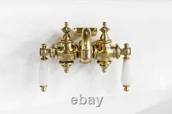 New 48 Black Wall Mount Cast Iron Porcelain High Back Trough Sink, Brass Faucet