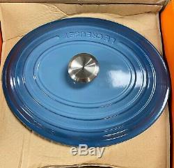 New Le CREUSET 16337 Oval Dutch Oven 8qt Color Marine Cast Iron