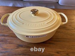 New! Le Creuset 6.75 Qt Oval Dutch Oven Mimosa Matte Signature Gold Knob 31