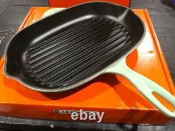 New Le Creuset Cool Mint 12.5 Cast Iron Oval Skillet Grill Discontinued Color