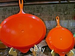 New Le Creuset Enamel Cast Iron Oval Flame Orange Skillet #40 Fish Crepe Pan